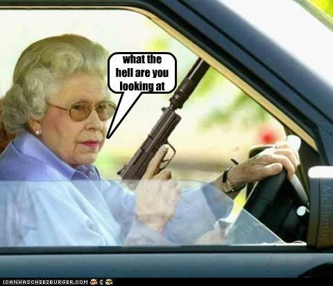 Badass car driving gun queen wtf - 5131070208