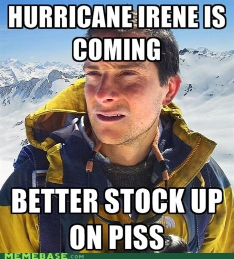 bear grylls,hurricane,irene,piss,stock