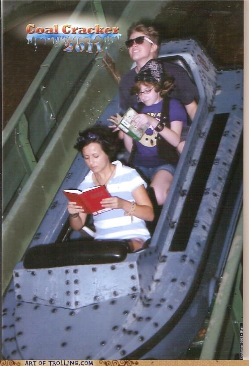 book,IRL,photobomb,reading,roller coaster