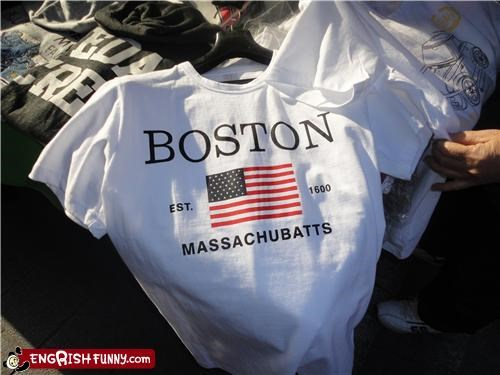 america boston fashion misspell shirt