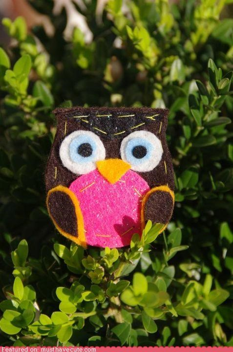 brooch craft felt handmade Owl pin - 5132257280