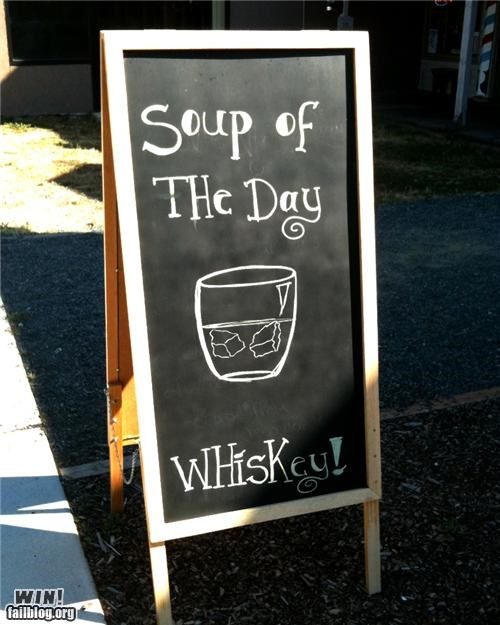 alcohol clever restaurant sign soup whiskey
