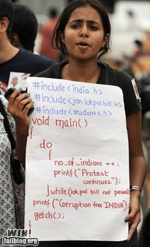 coding,computer,india,nerdgasm,programming,Protest,sign