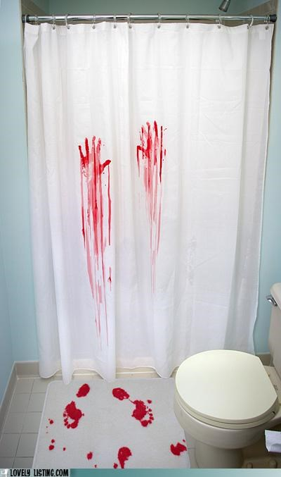 bathmat Blood footprints handprints shower curtain - 5133561344