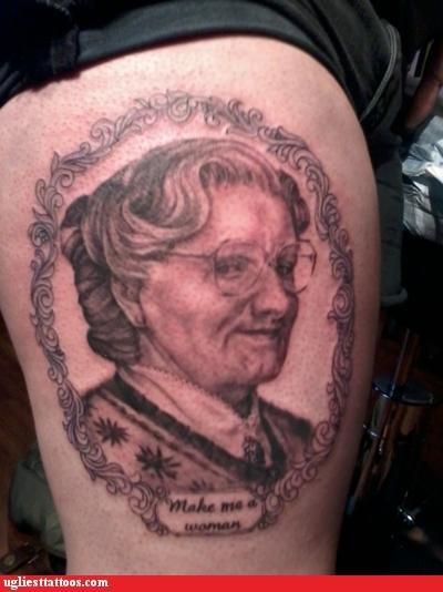 awesome celeb g rated movies mrs doubtfire pop culture portraits robin williams tattoos Ugliest Tattoos words - 5133823488