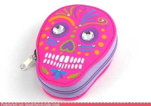 case Day Of The Dead manicure nails set skull sugar skull