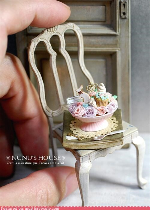 chair,cookies,cupcakes,door,flowers,handmade,miniature,nunus-house