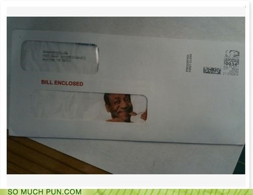bill,bill cosby,bill enclosed,double meaning,enclosed,envelope,Hall of Fame,literalism