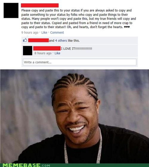copy,facebook,hearts,spam,status,yo dawg