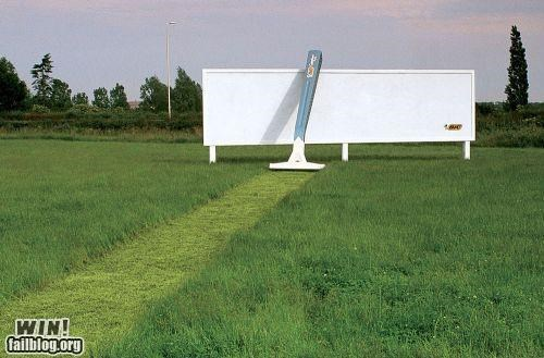 advertisement,clean,field,lawn,razor,shave