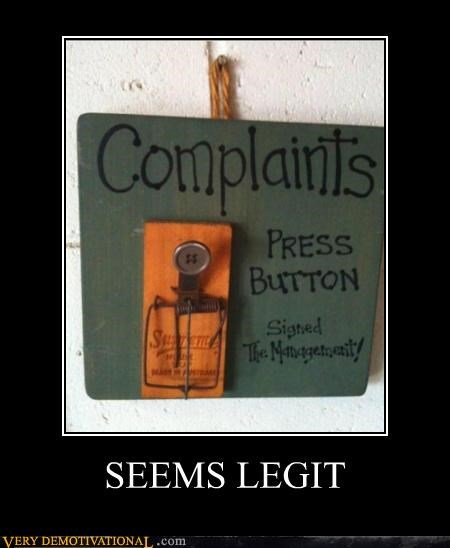 button,complaints,dangerous,hilarious,mouse trap