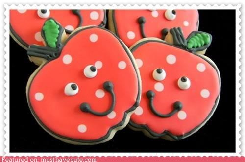 apples back to achool red cookies epicute faces polka dots - 5134748928
