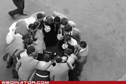 bride,funny wedding photos,groom,huddle,wedding party