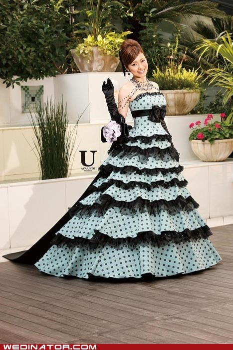 aya ueto,bridal couture,bridal fashion,funny wedding photos,polka dots,pretty or not,wedding dress,wedding fashion