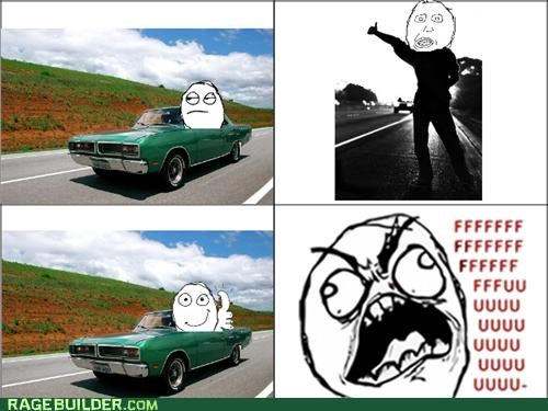car,hitchhiking,Rage Comics,thumbs