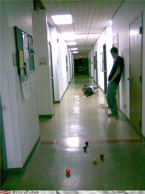 graduate school hallway pool procrastination
