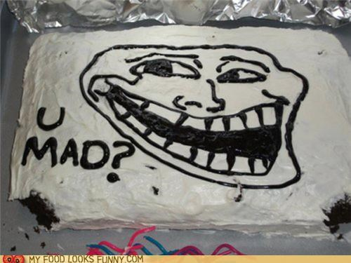 bite cake missing troll trollface u mad - 5135985920