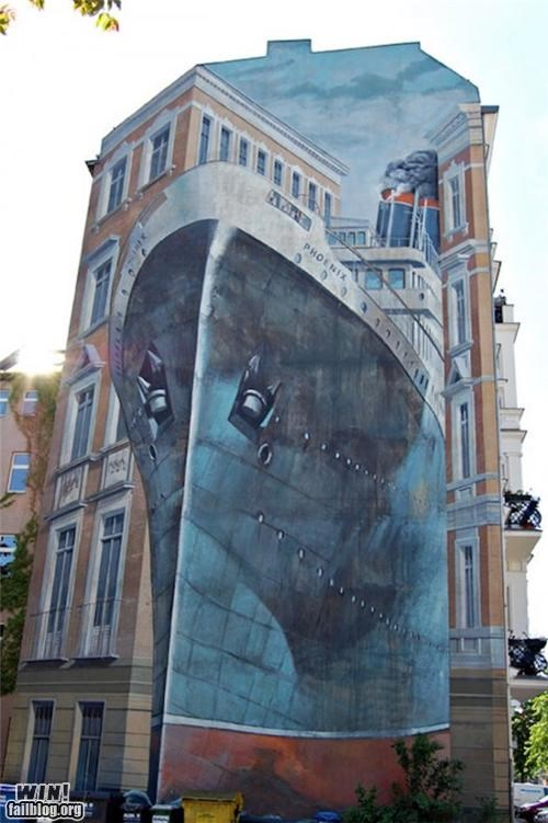 apartment,boat,building,hacked irl,illusion,optical,Street Art