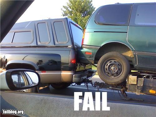 Towing with a homemade trailer is a bad idea Hit the brakes a little too hard and BLAM, screw up the back of your nice new truck with a minivan bumper.