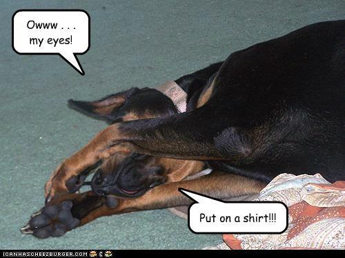Owww . . . my eyes! Put on a shirt!!!