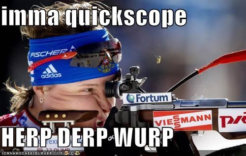 Derp sniper meme ready to shoot