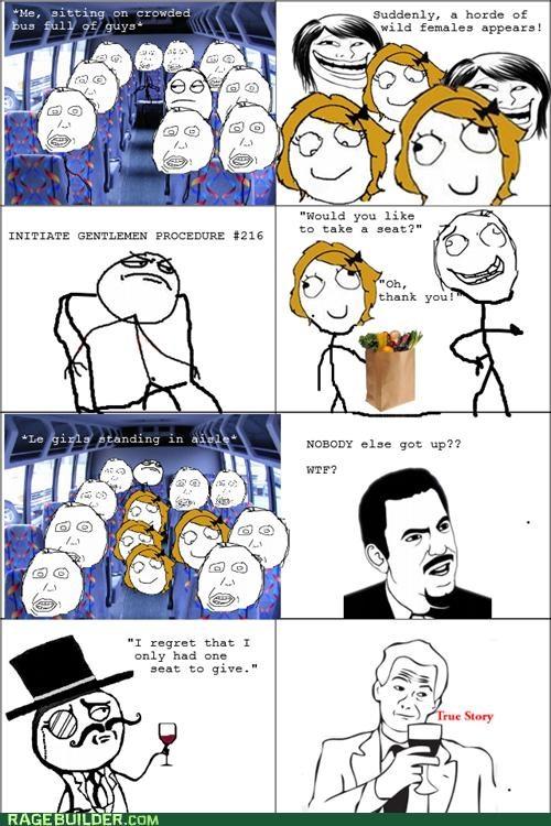 bus chivalry ladies sir Rage Comics true story - 5138493696