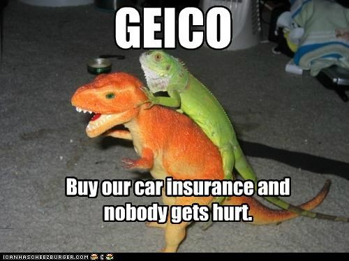buy caption captioned car dinosaur GEICO gets hurt insurance lizard nobody threat toy ultimatum - 5138582784