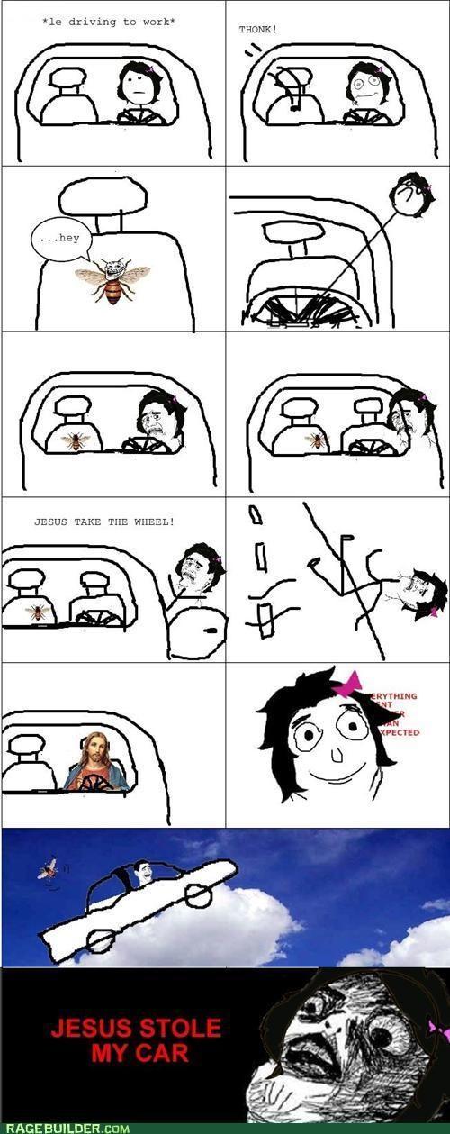 bee jesus take the wheel Rage Comics scary - 5138633472