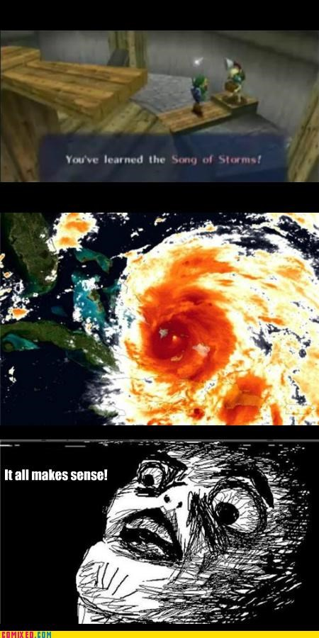 hurricane it all makes sense song of storms video games zelda