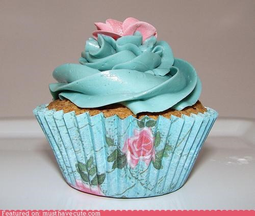 blue cupcake epicute Flower frosting paper pink - 5140701952