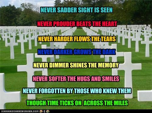 NEVER SADDER SIGHT IS SEEN NEVER PROUDER BEATS THE HEART NEVER HARDER FLOWS THE TEARS NEVER DARKER GROWS THE DARK NEVER DIMMER SHINES THE MEMORY NEVER SOFTER THE HUGS AND SMILES NEVER FORGOTTEN BY THOSE WHO KNEW THEM THOUGH TIME TICKS ON ACROSS THE MILES