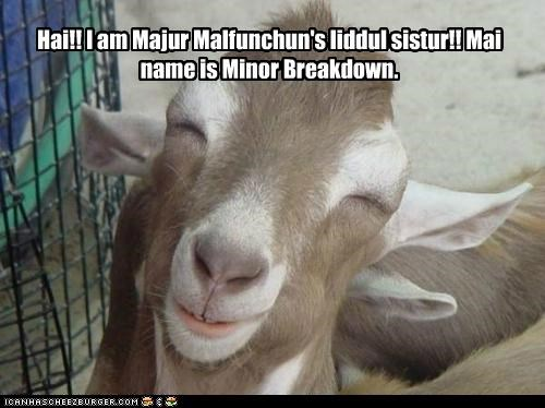 Hai!! I am Majur Malfunchun's liddul sistur!! Mai name is Minor Breakdown.