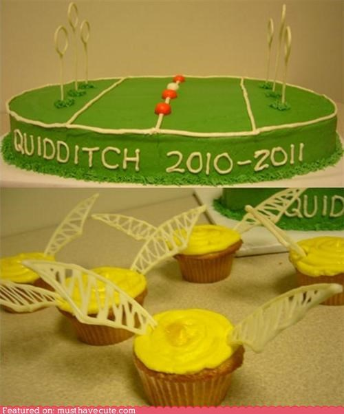 cake,cupcakes,epicute,field,Harry Potter,pitch,quidditch,snitch