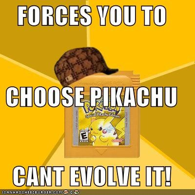 FORCES YOU TO CHOOSE PIKACHU CANT EVOLVE IT!