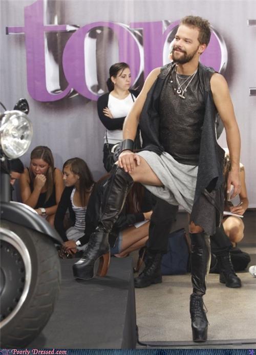 cross dressing heels leather skirt - 5143814656