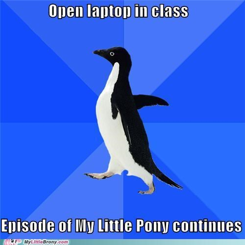 back to school,meme,my little pony,socially awkward penguin