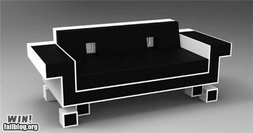 8 bit,couch,design,furniture,nerdgasm,space invaders