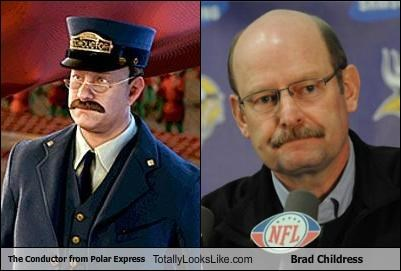 Brad Childress conductor funny nfl polar express TLL - 5144520704