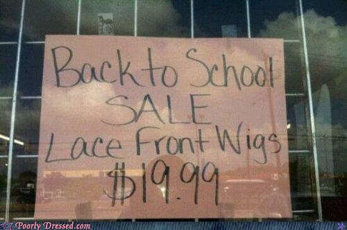 back to school,lace,sign,wigs