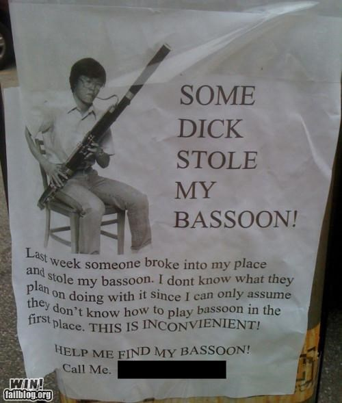 bassoon,help,lost,Lost Sign,sign,too true