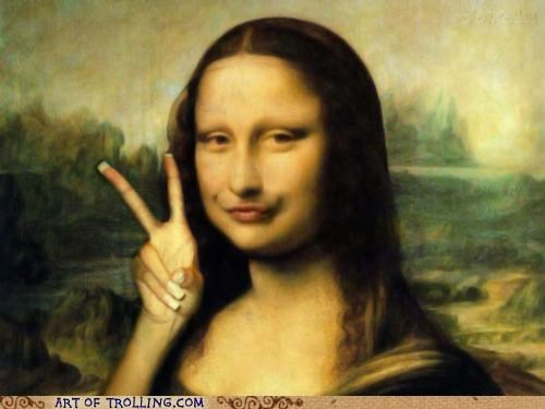 duck face,girls,mona lisa,peace