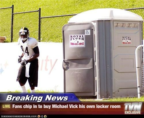 Michael Vick meme about getting him his own locker room porta-potty