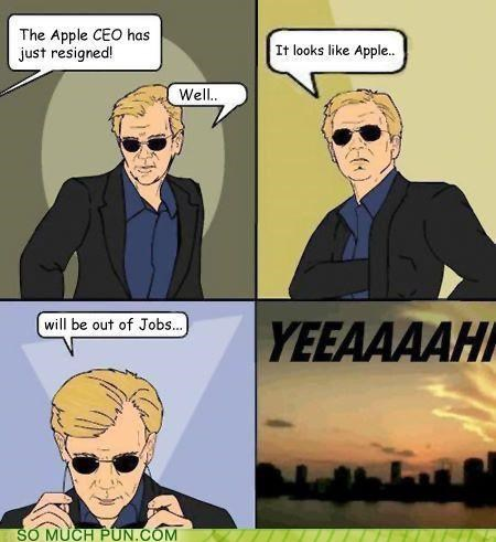 Horatio Cane - Cartoon - The Apple CEO has just resigned! It looks like Apple.. Well. will be out of Jobs... YEEAAAAH SO MUCH PUN.COM