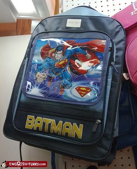 backpack batman fashion mix up superheroes superman