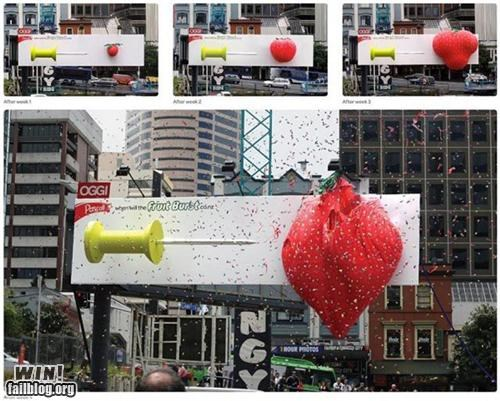 advertising balloon Brother Nature FTW city fruit strawberry