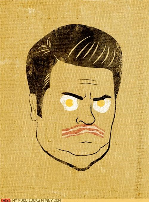 bacon,eggs,illustration,parks and rec,ron swanson,show,TV