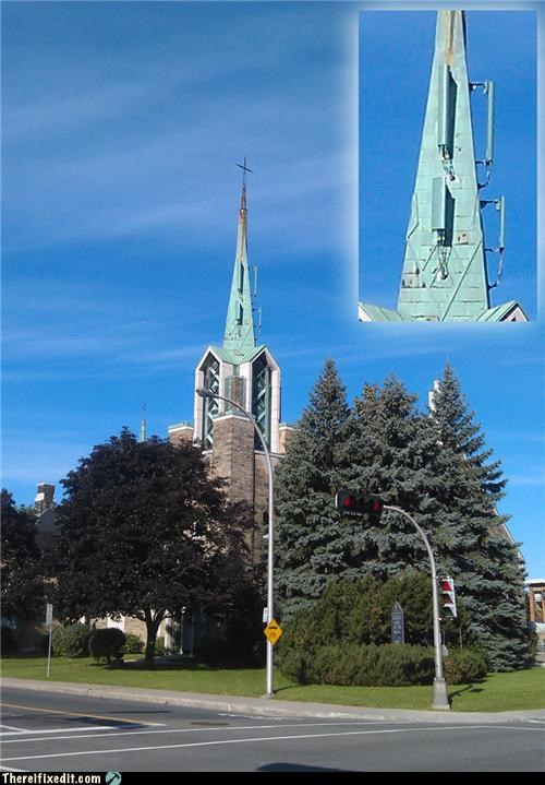 cell phone tower,church,technology