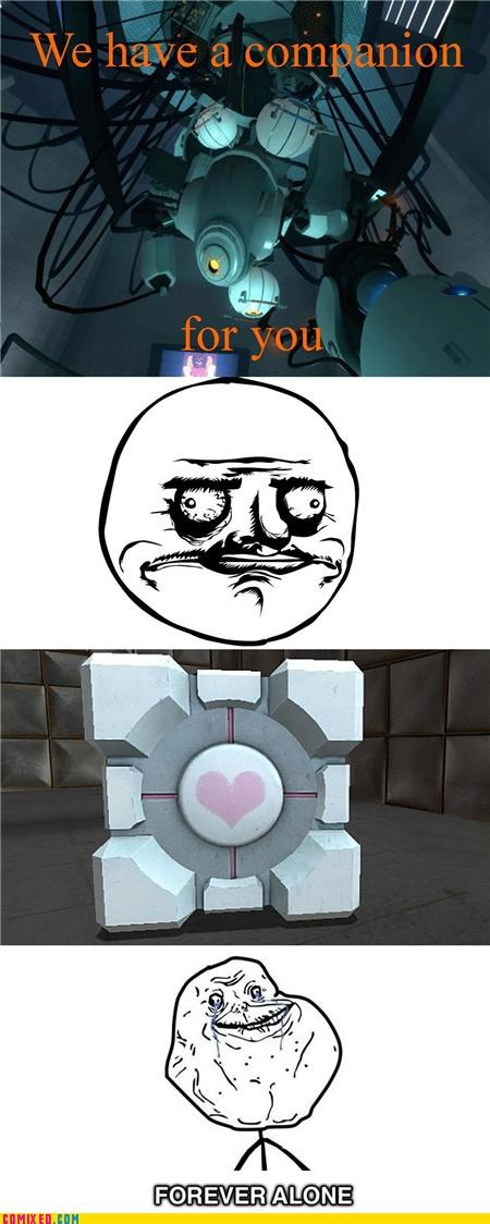 achievement unlocked,companion cube,forever alone,me gusta,Portal,video games
