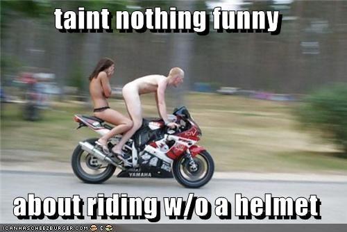 dangerous gross helmets motorcycles nekkid taint wtf - 5147175424