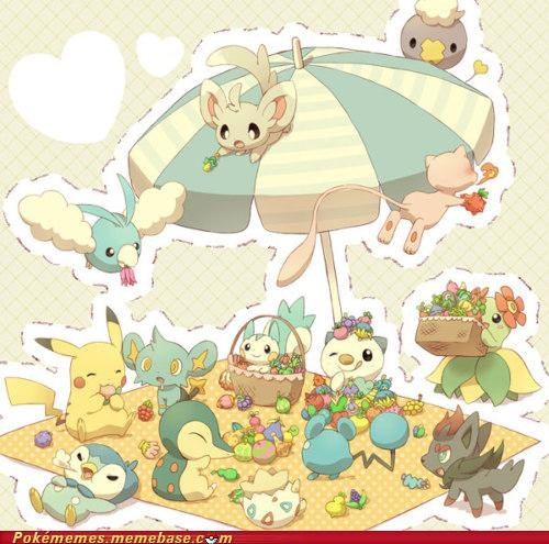art,cute,drifloon,lost in the moment,mew,picnic,pokemon party